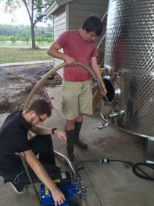 Raking the wine
